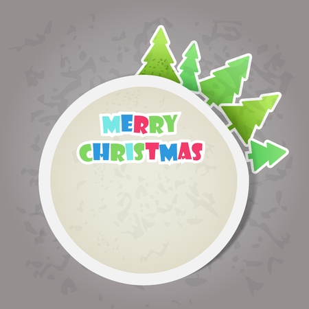 Merry Christmas greeting card with paper pines Vector