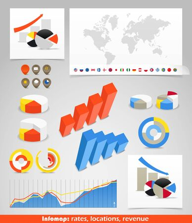 Infographics. World map, flags of different countries and diagrams. You can select any country by color Vector