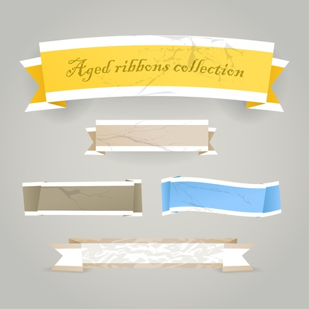 banner craft: Colorful polygonal vintage origami banners. Place your text here  Illustration