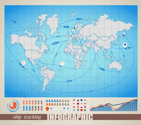 Infographics. World map with ship tracking Vector