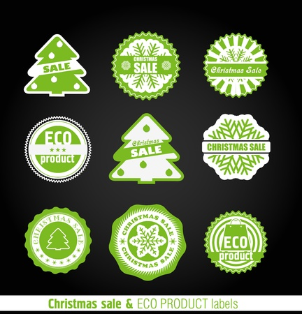 Winter labels set. Christmas and eco collection  Vector