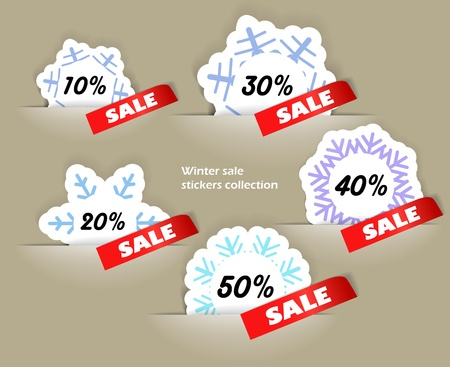 Christmas sale stickers in a pockers collection, Vector