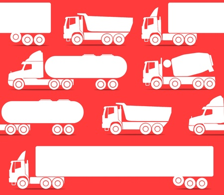 Different types of trucks seamless background Stock Vector - 11430985