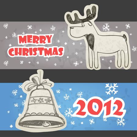 Christmas banners hand-drawn collection Vector