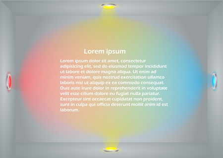 Illuminated empty wall template. Ready for your content Vector