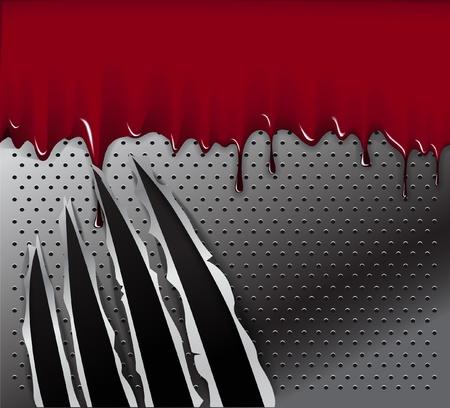 cartone strappato: Tracce di una zampa di animale e sangue su sfondo di acciaio. Pronti per un testo. Vettoriali
