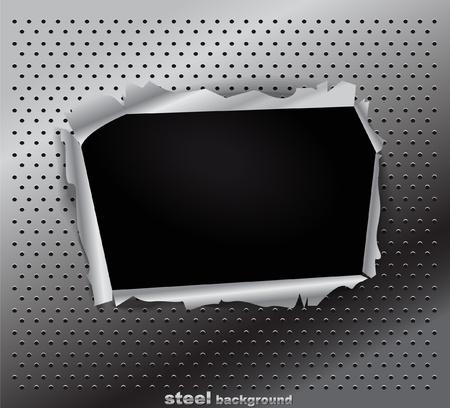 fragmentary: De acero da�adas textura con un agujero Vectores