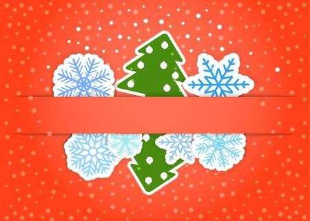 Happy new year greeting card with paper flakes and christmas trees Stock Vector - 11430999