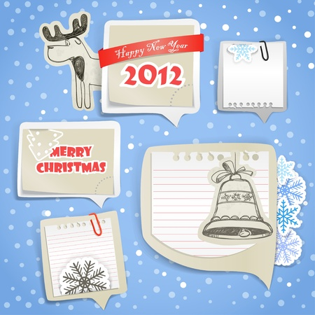 post cards: Christmas greeting paper bubbles Illustration