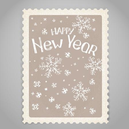 happy new year stamp: Sello de correos de la vendimia. Felicitaci�n navide�a.