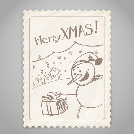 Vintage post stamp. Christmas greetings. Vector