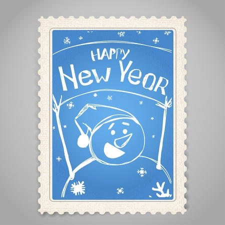 Vintage post stamp. Christmas greetings. Stock Vector - 11430986