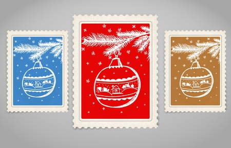Vintage post stamp. Merry Christmas. Vector