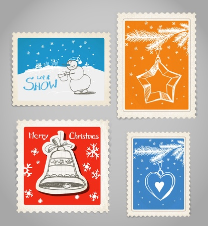 Vintage color post stamps collection. Christmas greetings.  Vector