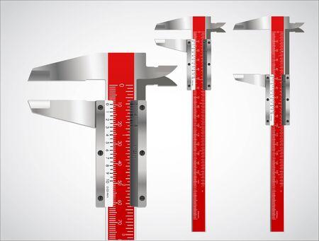 millimetre: Sliding calliper vector set Illustration