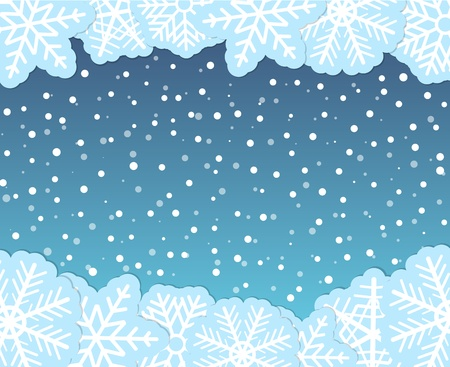 Christmas background with paper flakes Stock Vector - 11595538