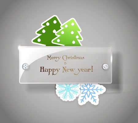 Square glass board with christmas greetings. Place your text on it Stock Vector - 11595590