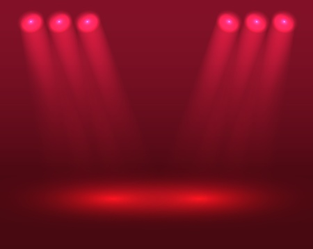 Red lights on the stage Stock Vector - 11595587
