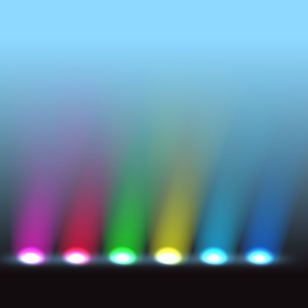 stage lights: Illuminated stage with different colors lights Illustration