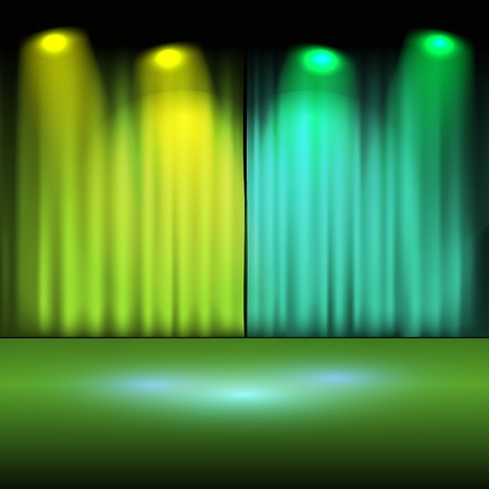 interior lighting: Illuminated stage with green lights vector illustration  Illustration