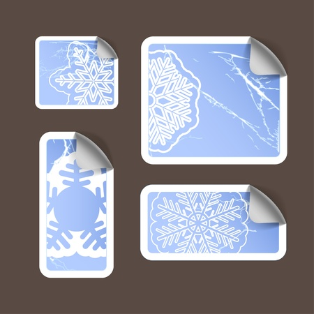Aged scratched paper stickers set. Winter style Vector