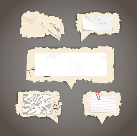 your text here:  Scratched paper speech clouds. Place your text here Illustration