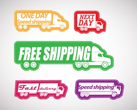 delivery car: Fast delivery vector stickers collection