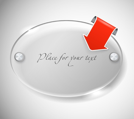 ovals: Ellipce advertising glass board with red paper arrow. Place your text