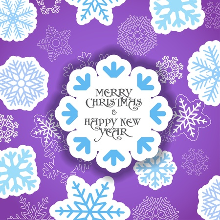 Violet Christmas greeting card   Stock Vector - 11595542