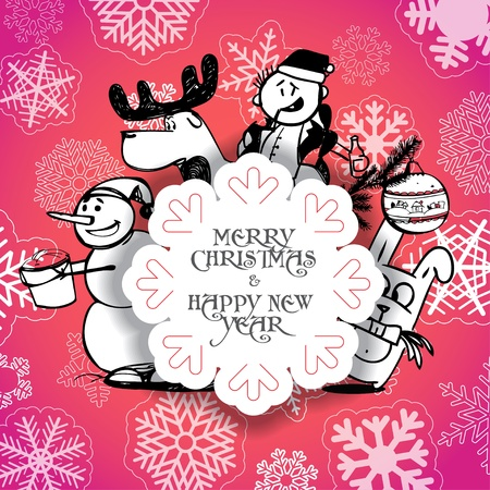 Red Christmas greeting card with Christmas persons   Vector