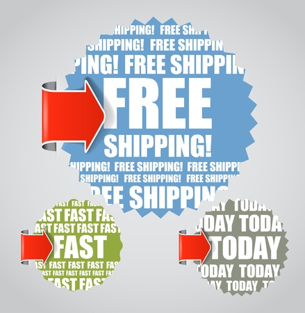 Vector labels with accent arrows: Free shipping, today, fast  Vector