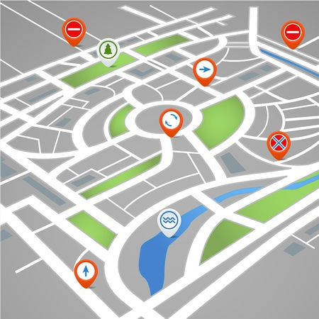 route map: Perspective background of abstract city map with symbols Illustration