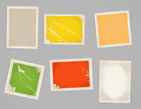 Vintage color post stamps template clip-art Vector