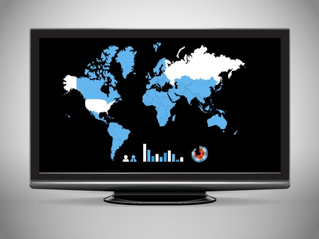 Modern TV with Earth map and statistics  Stock Vector - 11595597