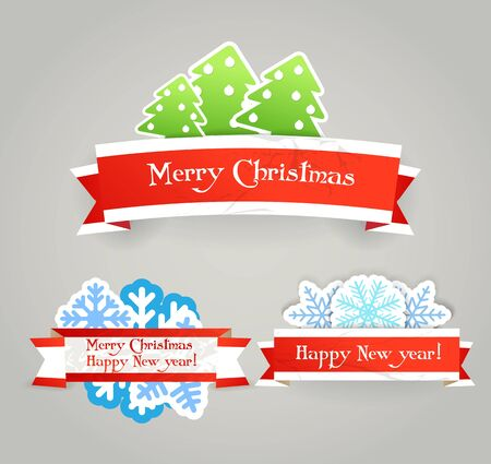 Polygonal vintage origami Christmas banners Vector
