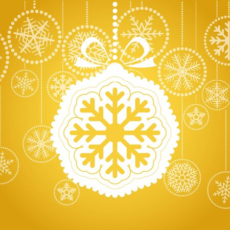 Yellow Christmas greeting card with white christmas toy. Merry Christmas and Hapy New Year,   Vector