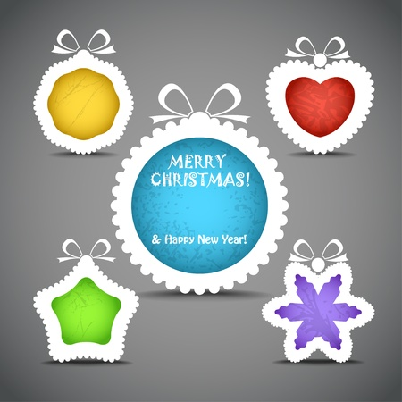 Christmas speech clouds of toys silhouettes Vector