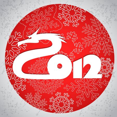 Happy New 2012. The dragon year  Vector