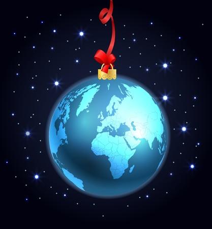 Abstract christmas ball of The Earth Vector