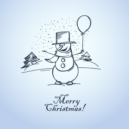 Merry Christmas from smiling snowman with balloon,   Vector