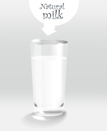 Glass of milk. Transparent gradient mesh Vector