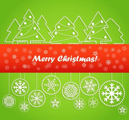 Christmas greeting card. Abstract toys and forest. Merry Christmas!  Vector