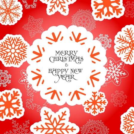 Red Christmas greeting card with snowflakes Stock Vector - 11595622