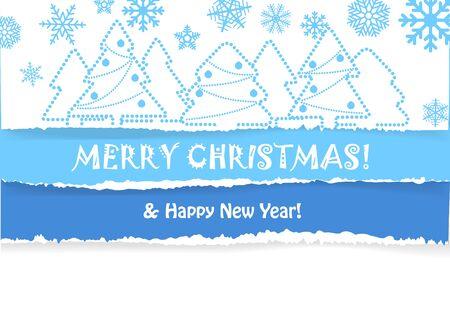 fragmentary: Tarjeta de felicitaci�n de la Navidad con la Navidad de los bosques y las nevadas en el fondo fragmentaria papel de color