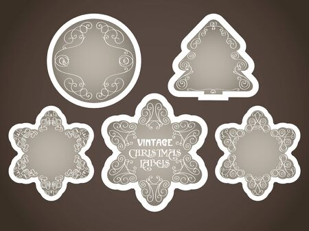 Vector vintage christmas labels set with calligraphic elements  Vector