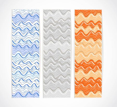 Set of vertical vector information banners with wave ornament. Ready for a text Stock Vector - 11595673