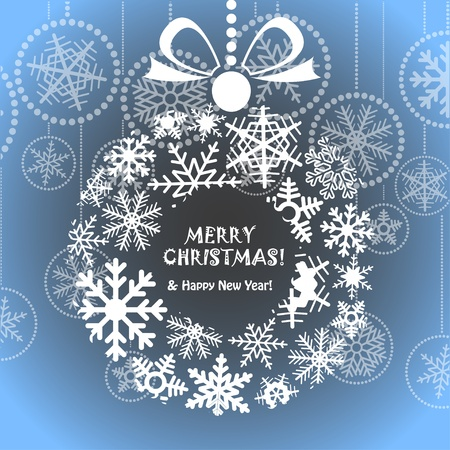 Blue Christmas greeting card with wreath of snowflakes Vector