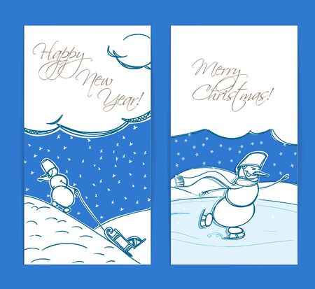 Christmas cards. Merry Christmas and Happy new Year! Vector
