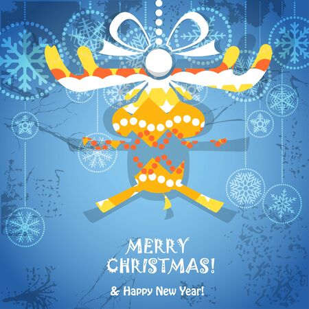Vintage style greeting card with ornamented reindeer   Vector