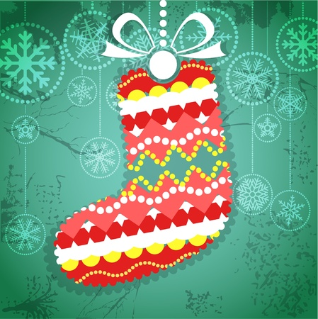 Vintage style greeting card with ornamented christmas bauble on green Stock Vector - 11595826